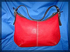 Tote Red Leather Shoulder Tig & Company