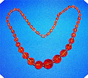 Amber Vintage Faceted Graduated Glass Necklace