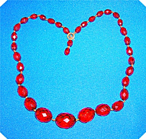 NECKLACE RARE CHERRY AMBER FACETED (Image1)
