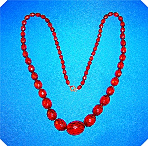 Necklace Rare Faceted Cherry Amber 28 Inch