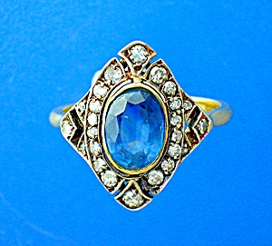 Ring 18K Gold Antique 1.65ct Ceylon Sapphire Diamond   (Image1)