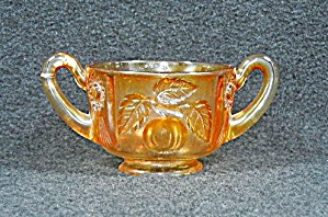 Carnival Glass OrangeSugar Bowl Embossed design (Image1)