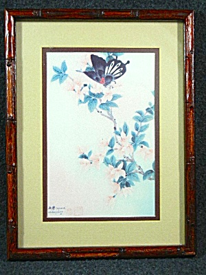 Lithograph Black Red Butterfly By Johnny Lung