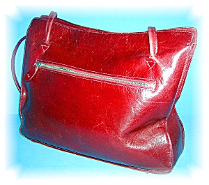 Bag Tote Burgundy Red Leather Monsac Original