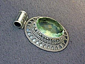 Sterling Silver Green Amethyst Pendant (Image1)