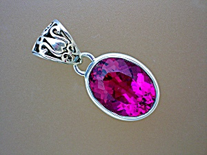 Ruby Flame Corundum Pendant Sterling Silver