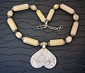 Sterling Silver Heart White Jade Silver Beads Necklace