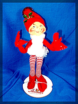 Christmas  Annalee Red Elf Striped Leggings 2004 (Image1)