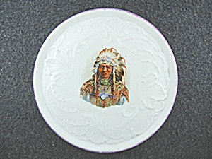 Porcelain American Indian Chief Transfer Ware Trivet  (Image1)