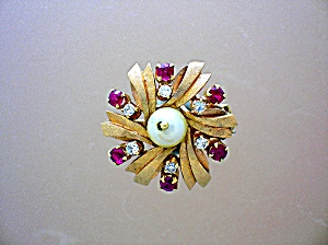 14k Gold Ruby Diamond And Pearl Enhancer Clip
