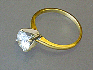 Ring Moissanite 1 CT and 14K Gold Tiffany Set  (Image1)