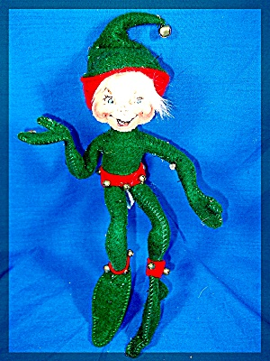 Annalee Christmas Elf Red And Green With Jingle Bells