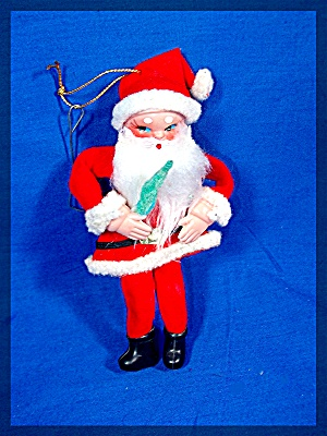 Vintage Christmas Red Felt Santa Claus Ornament (Image1)