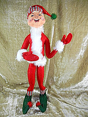 Christmas Annalee 22 Inch Red Candystripe Elf & Tags