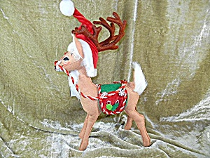 Christmas Annalee 12 inch Peppermint  Reindeer & tags (Image1)