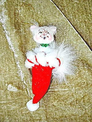 Christmas Annalee Cat In Stocking Tree Ornament