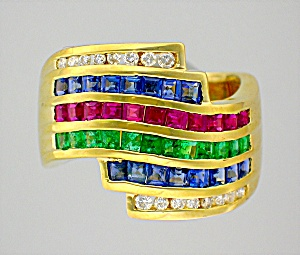Ring Diamond Emerald Ruby Sapphire 14K Gold  (Image1)