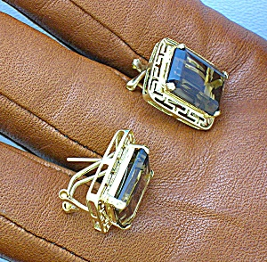 Earrings 14k Gold Smoky Topaz French Clip Post