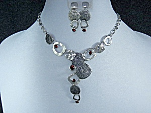 Costume Necklace And Post Earrings Garnet Colored Glass