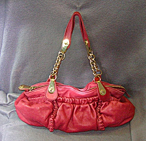 Bag Seven Jeans Large Ruffled Burgundy Leather