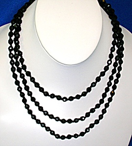 Austrian Black Crystal Faceted 54 Inch   Necklace (Image1)