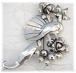 Taxco Mexico Brooch Sterling Silver Peacock LARGE (Image1)