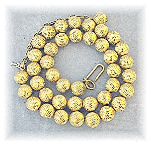 Necklace TRIFARI Goldtone Beads 7.8mm   (Image1)