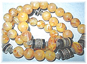 Vintage Amber Colored Beads Black Spacers (Image1)