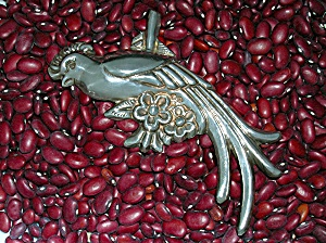 Mexico Silver 4 3/4 Inch Plumed Bird Brooch (Image1)