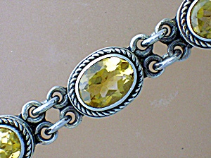 Citrine Sterling Silver Toggle Clasp Bracelet