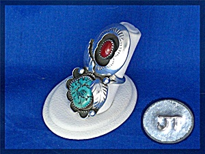 Navajo Coral Turquoise Sterling Silver Jt Signed Ring