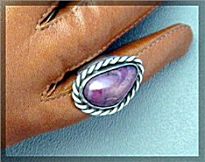 Purple Agate Sterling Silver Ring Signed TEX (Image1)