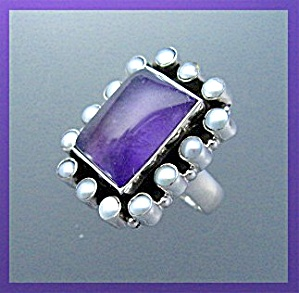 Amethyst Pearl Sterling Silver Ring