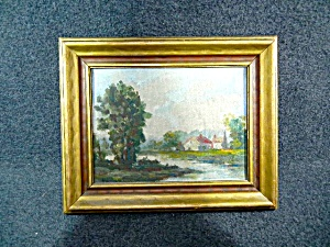 Oil Painting Country Scene Framed