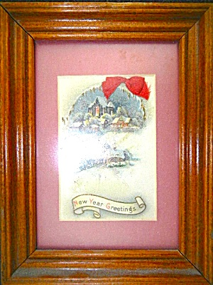 Framed Vintage Antique Christmas New Year Postcard