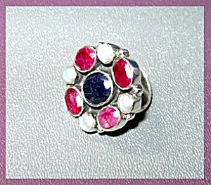 Sapphire Pearl Ruby Sterling Silver Ring