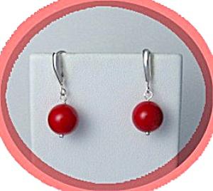 Coral and Sterling Silver Loop Earrings (Image1)