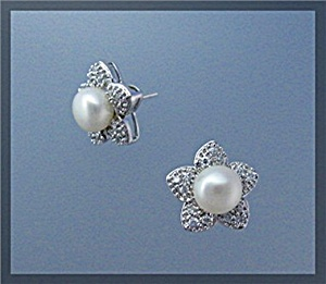 Sterling Silver Pearl and CZ Pierced Flower Earrings (Image1)