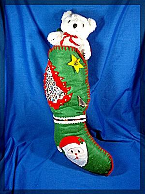 Christmas Felt Stocking with White Polar Bear (Image1)