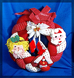 Christmas Pillow  Wreath Handmade Felt Fabric (Image1)