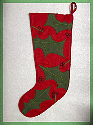Christmas Stocking, Red and Green Felt  Holly Leaves (Image1)
