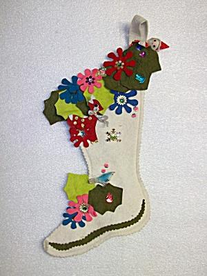Christmas Stocking Felt  Handmade Flowers  Vintage (Image1)