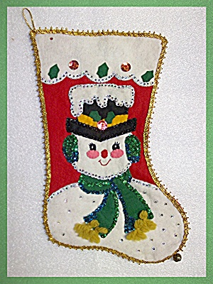 Christmas Stocking, Vintage Felt Snowman stocking (Image1)