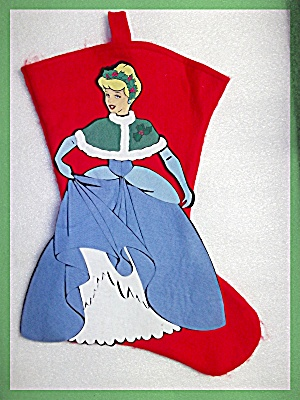 Christmas Stocking Princess Red Grey  Felt Hand made (Image1)