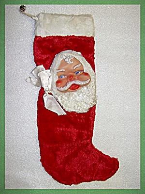 Christmas Stocking Plush Velvet Rubber Santa Face (Image1)