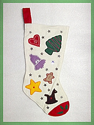 Christmas Stocking White felt with cookie cutouts (Image1)