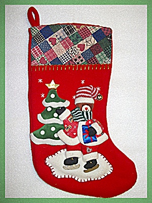 Christmas Stocking trapunto tree and bear (Image1)