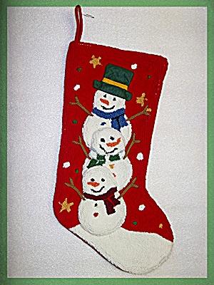 Christmas Stocking hook and loop three snowmen (Image1)