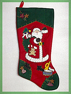 Christmas Stocking handmade heavy felt  Santa (Image1)
