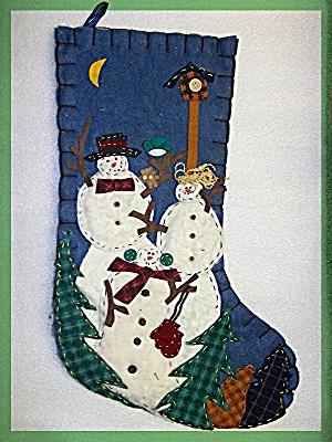 Christmas Stocking Festive trees and snowmen (Image1)